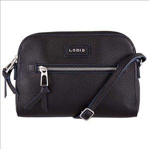 Lodis Black Leather Crossbody Bag